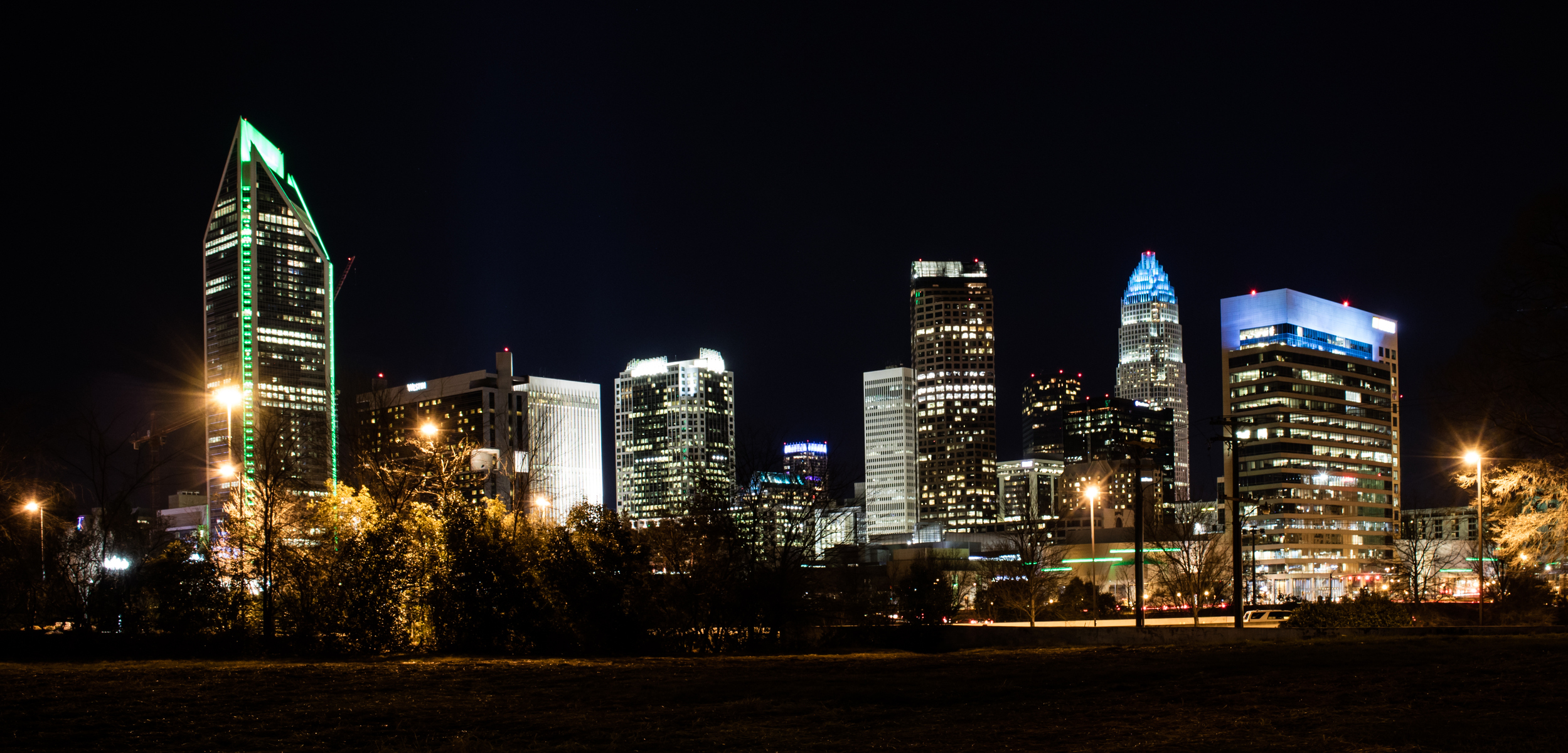 Charlotte Skyline Nightime from the West