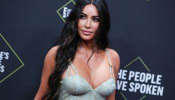 Kim Kardashian West wearing Versace arrives at the 2019 E! People's Choice Awards held at Barker Hangar on November 10, 2019 in Santa Monica, Los Angeles, California, United States.