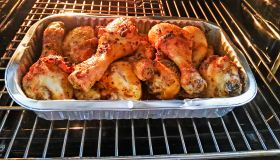 Homemade roasted chicken in oven whit spices.