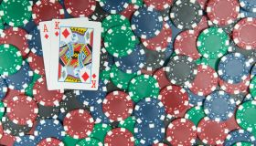 Poker Chips w/ Blackjack Ace & King of Diamonds